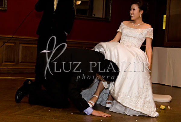 Searching for the garter.