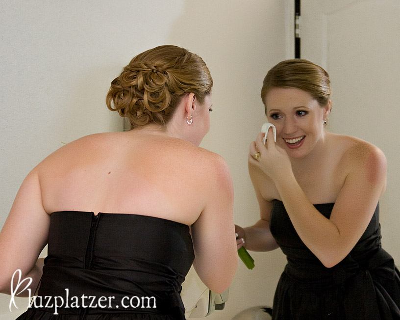 bridesmaid shedding tears before the ceremony